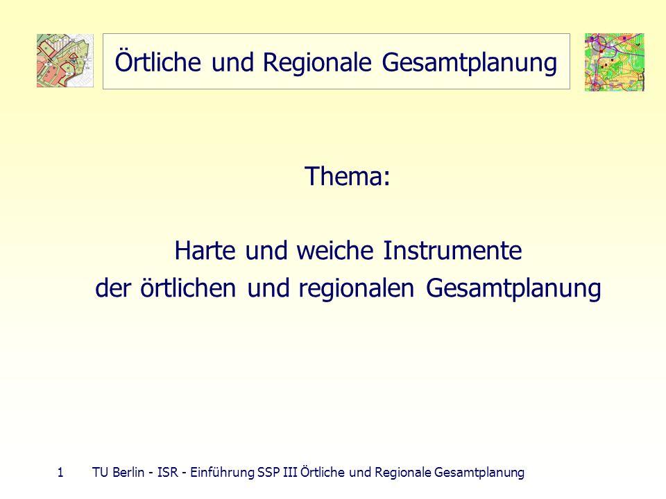 32 TU Berlin - ISR - Einführung SSP III Örtliche und Regionale Gesamtplanung ROG-Grundsätze Naturgüter Biotopverbund (§ 3 BNatSchG: 10 % Landesfläche) vorbeugender Hochwasserschutz (Rückgewinnung Auen, Rückhaltefläche, gefährdete Flächen) Wohnen und Mischung Wohnbedarf bei Gebietsausweisung für AP Rechnung tragen, sinnvolle Zuordnung von Wohn- und GE-Gebieten Eigenentwicklung der Gemeinden bei Wohnraumversorgung gewährleisten Infrastruktur Flächendeckende Grundversorgung mit techn.