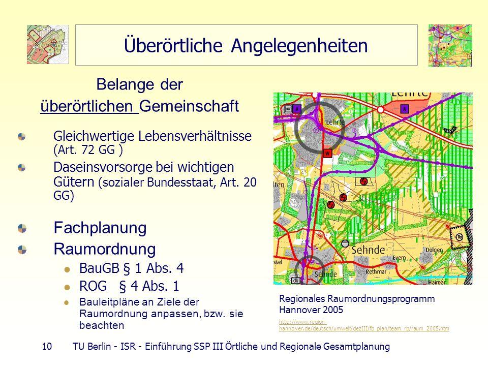 10 TU Berlin - ISR - Einführung SSP III Örtliche und Regionale Gesamtplanung Überörtliche Angelegenheiten Belange der überörtlichen Gemeinschaft Gleic