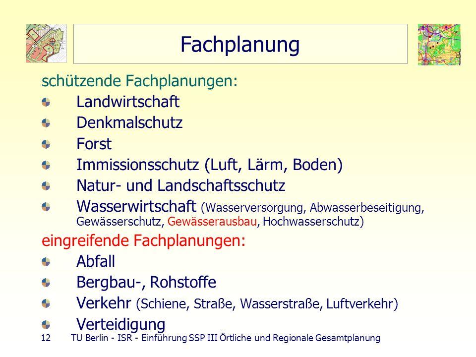 12 TU Berlin - ISR - Einführung SSP III Örtliche und Regionale Gesamtplanung Fachplanung schützende Fachplanungen: Landwirtschaft Denkmalschutz Forst