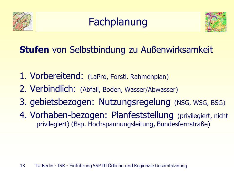 13 TU Berlin - ISR - Einführung SSP III Örtliche und Regionale Gesamtplanung Fachplanung Stufen von Selbstbindung zu Außenwirksamkeit 1. Vorbereitend: