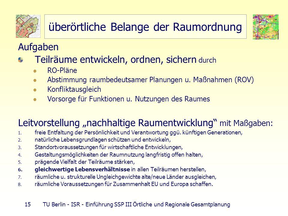 15 TU Berlin - ISR - Einführung SSP III Örtliche und Regionale Gesamtplanung überörtliche Belange der Raumordnung Aufgaben Teilräume entwickeln, ordne
