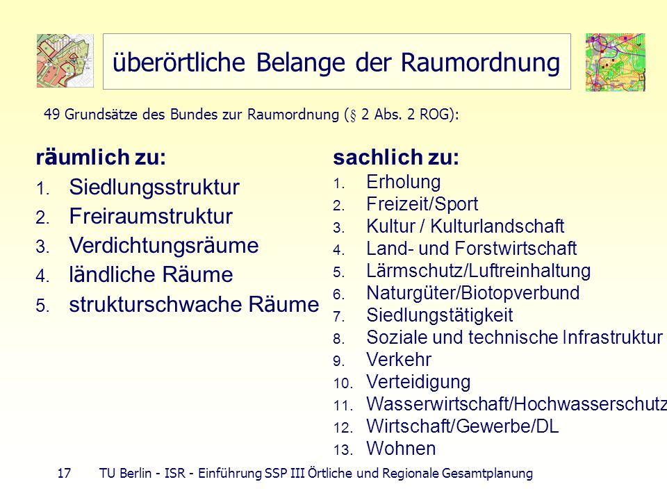 17 TU Berlin - ISR - Einführung SSP III Örtliche und Regionale Gesamtplanung überörtliche Belange der Raumordnung r ä umlich zu: 1. Siedlungsstruktur