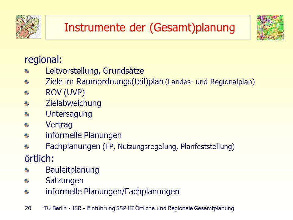 20 TU Berlin - ISR - Einführung SSP III Örtliche und Regionale Gesamtplanung Instrumente der (Gesamt)planung regional: Leitvorstellung, Grundsätze Zie