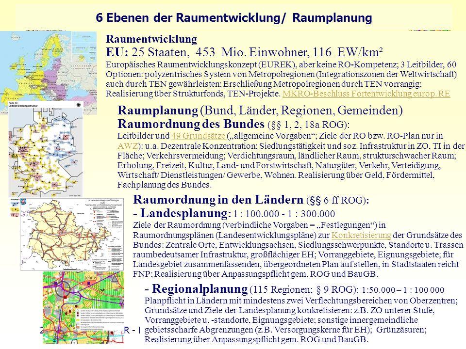 22 TU Berlin - ISR - Einführung SSP III Örtliche und Regionale Gesamtplanung 6 Ebenen der Raumentwicklung/ Raumplanung Raumentwicklung EU: 25 Staaten,