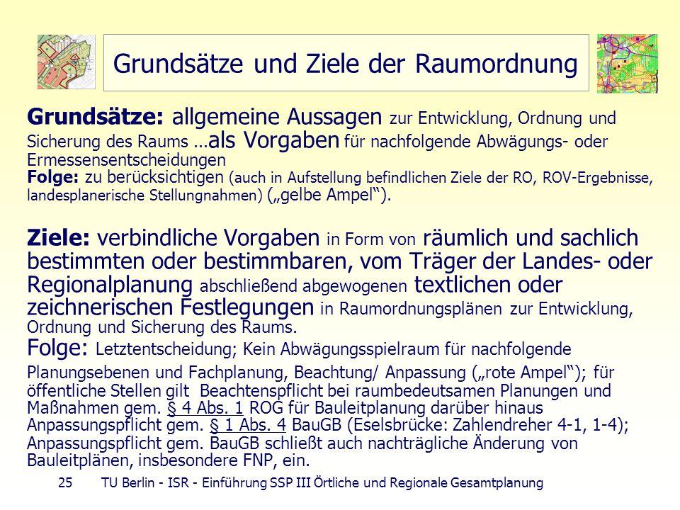 25 TU Berlin - ISR - Einführung SSP III Örtliche und Regionale Gesamtplanung Grundsätze und Ziele der Raumordnung Grundsätze: allgemeine Aussagen zur