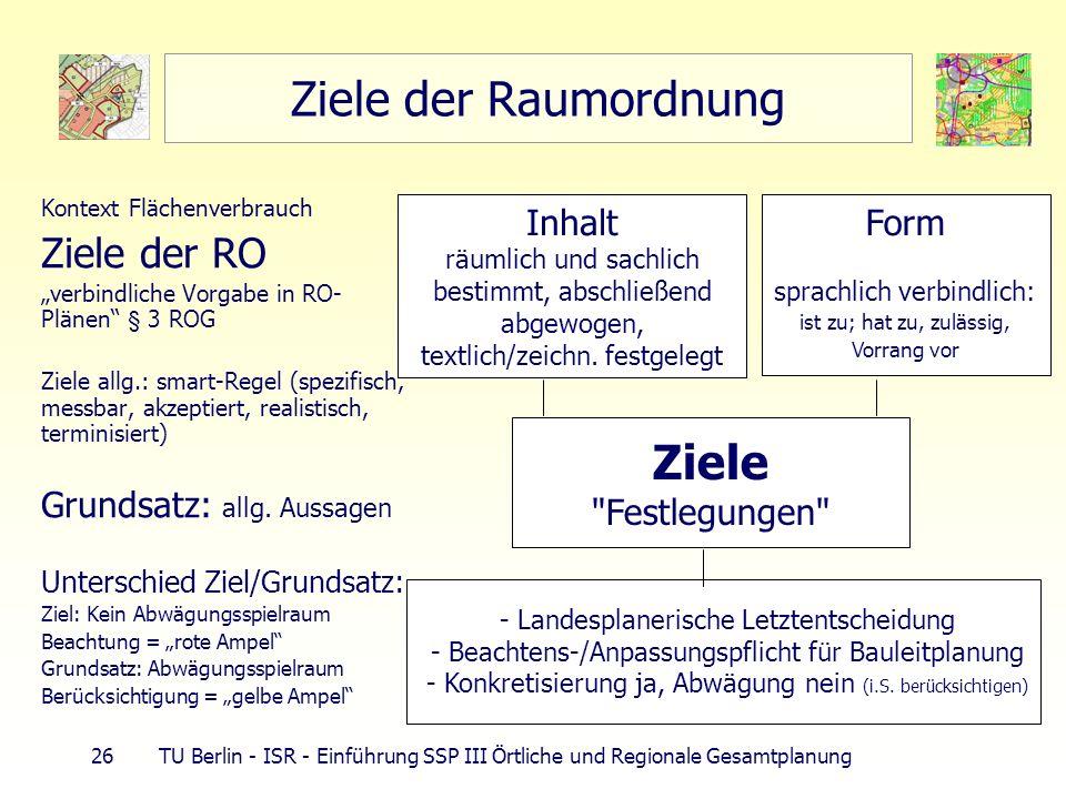 26 TU Berlin - ISR - Einführung SSP III Örtliche und Regionale Gesamtplanung Ziele der Raumordnung Kontext Flächenverbrauch Ziele der RO verbindliche