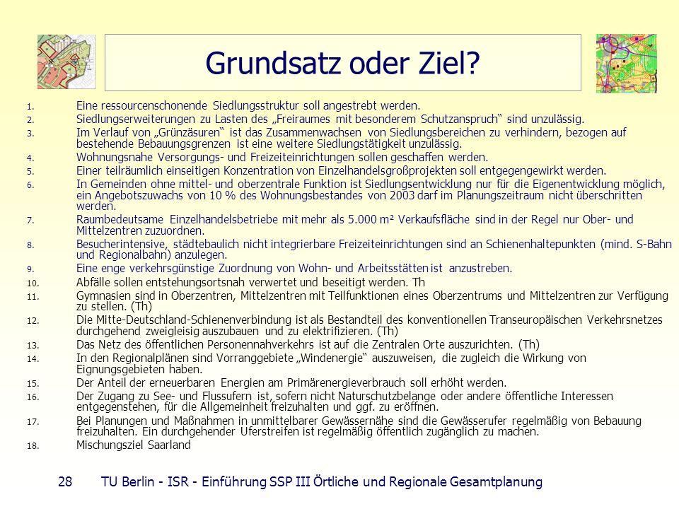 28 TU Berlin - ISR - Einführung SSP III Örtliche und Regionale Gesamtplanung Grundsatz oder Ziel? 1. Eine ressourcenschonende Siedlungsstruktur soll a