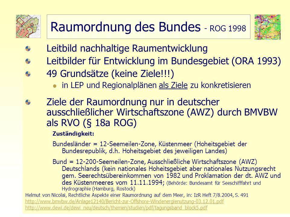 29 TU Berlin - ISR - Einführung SSP III Örtliche und Regionale Gesamtplanung Raumordnung des Bundes - ROG 1998 Leitbild nachhaltige Raumentwicklung Le