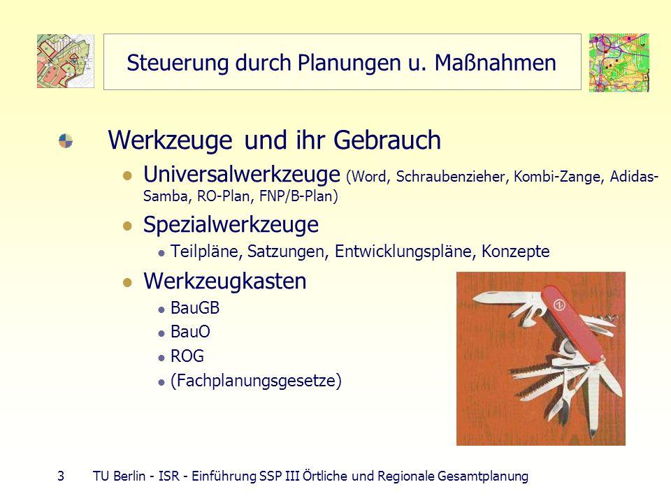 24 TU Berlin - ISR - Einführung SSP III Örtliche und Regionale Gesamtplanung Europäisches Raumentwicklungskonzept Europäisches Raumentwicklungskonzept – EUREK Leitbild regional ausgewogene nachhaltige Entwicklung, 3 Leitbilder, 60 Optionen Gegenstromprinzip (§ 1 Abs.