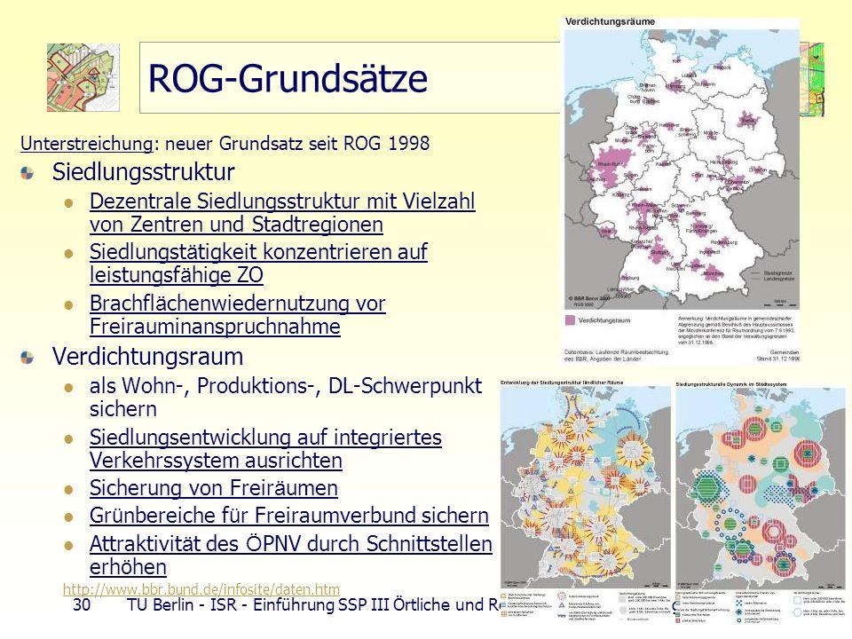 30 TU Berlin - ISR - Einführung SSP III Örtliche und Regionale Gesamtplanung ROG-Grundsätze Unterstreichung: neuer Grundsatz seit ROG 1998 Siedlungsst