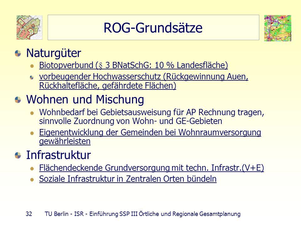 32 TU Berlin - ISR - Einführung SSP III Örtliche und Regionale Gesamtplanung ROG-Grundsätze Naturgüter Biotopverbund (§ 3 BNatSchG: 10 % Landesfläche)