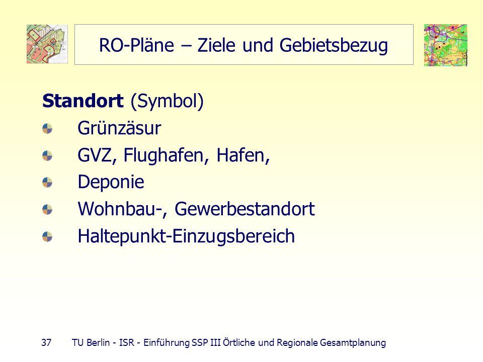 37 TU Berlin - ISR - Einführung SSP III Örtliche und Regionale Gesamtplanung RO-Pläne – Ziele und Gebietsbezug Standort (Symbol) Grünzäsur GVZ, Flugha