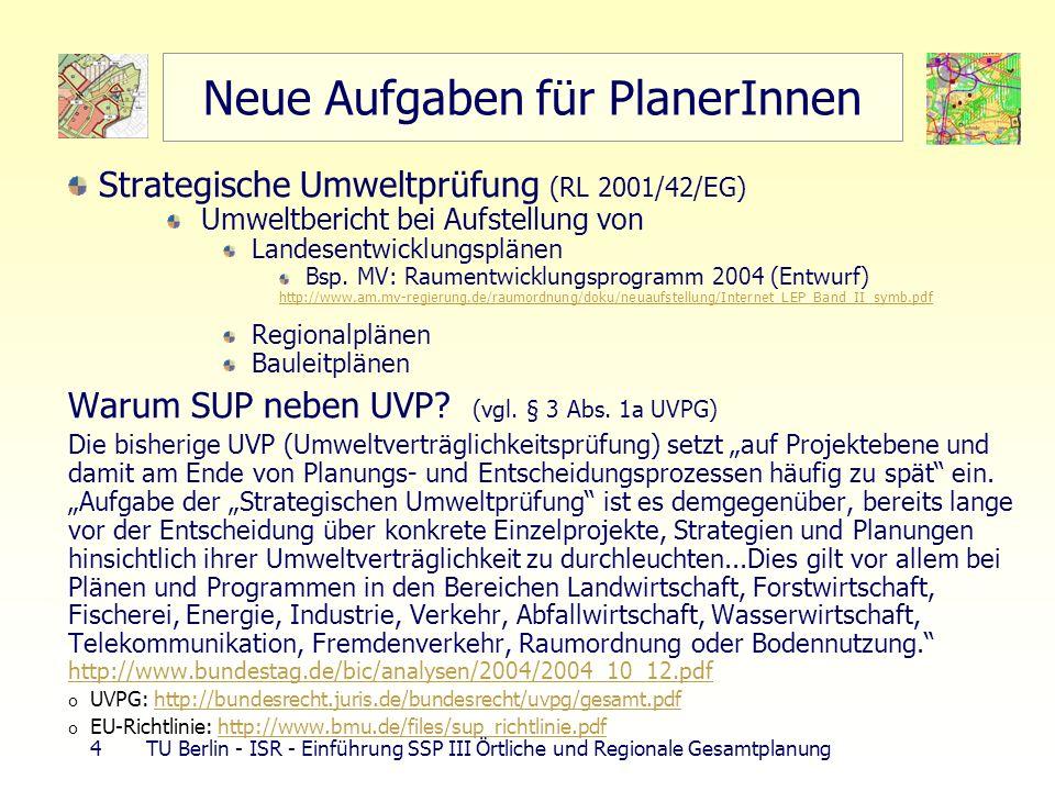 15 TU Berlin - ISR - Einführung SSP III Örtliche und Regionale Gesamtplanung überörtliche Belange der Raumordnung Aufgaben Teilräume entwickeln, ordnen, sichern durch RO-Pläne Abstimmung raumbedeutsamer Planungen u.