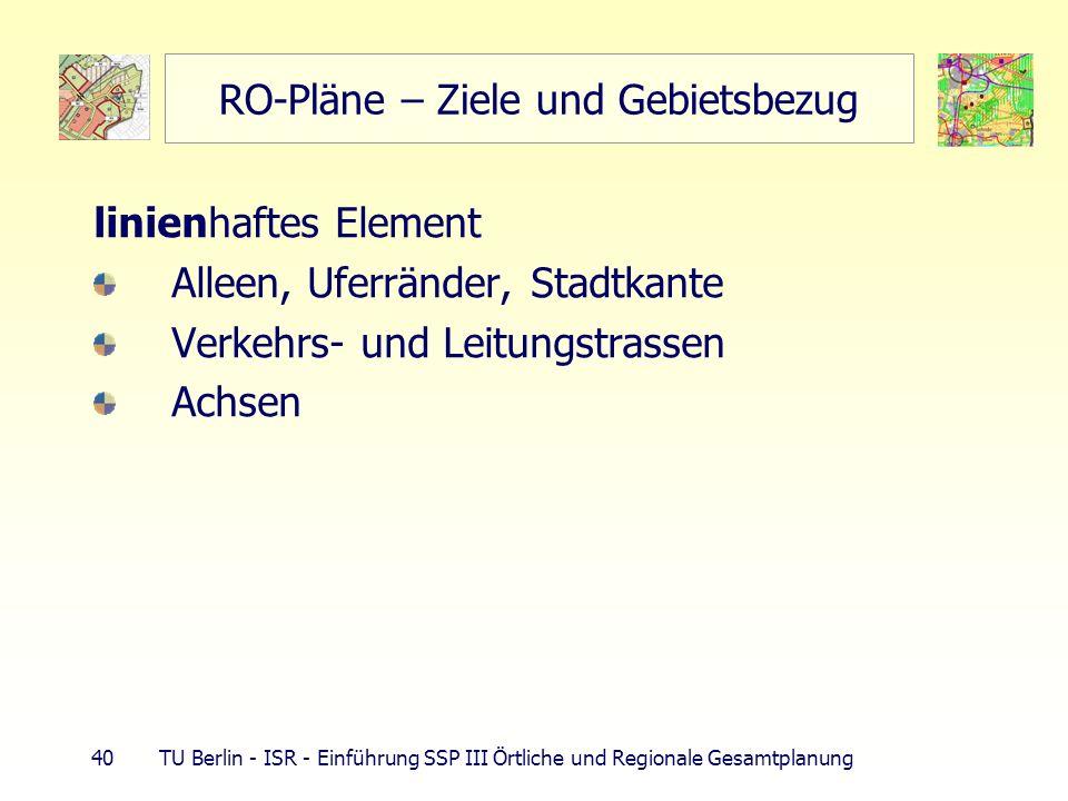 40 TU Berlin - ISR - Einführung SSP III Örtliche und Regionale Gesamtplanung RO-Pläne – Ziele und Gebietsbezug linienhaftes Element Alleen, Uferränder