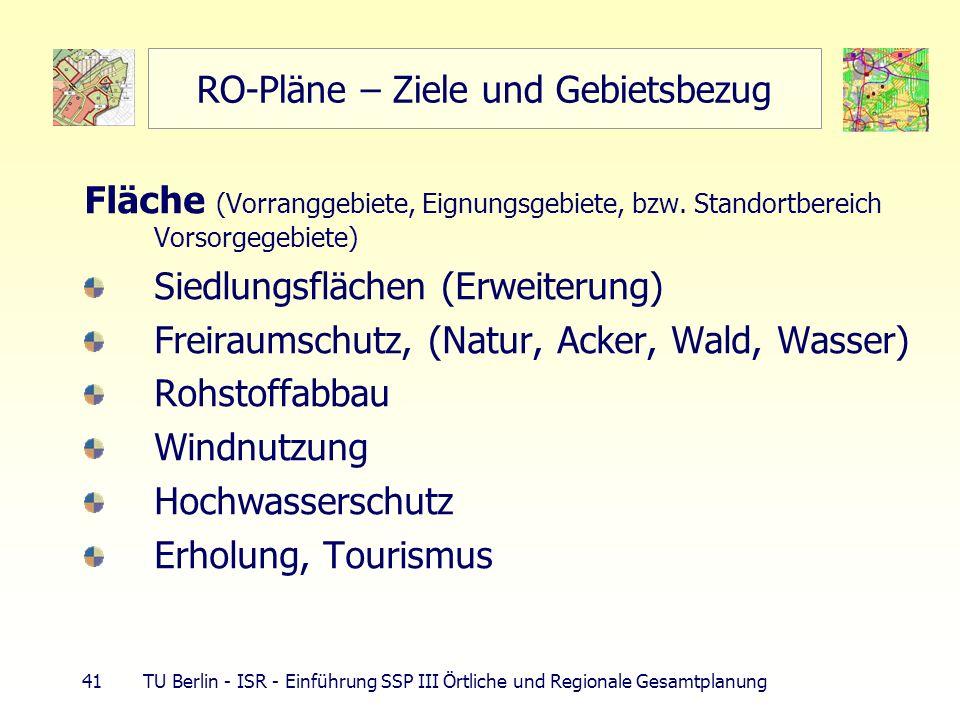 41 TU Berlin - ISR - Einführung SSP III Örtliche und Regionale Gesamtplanung RO-Pläne – Ziele und Gebietsbezug Fläche (Vorranggebiete, Eignungsgebiete