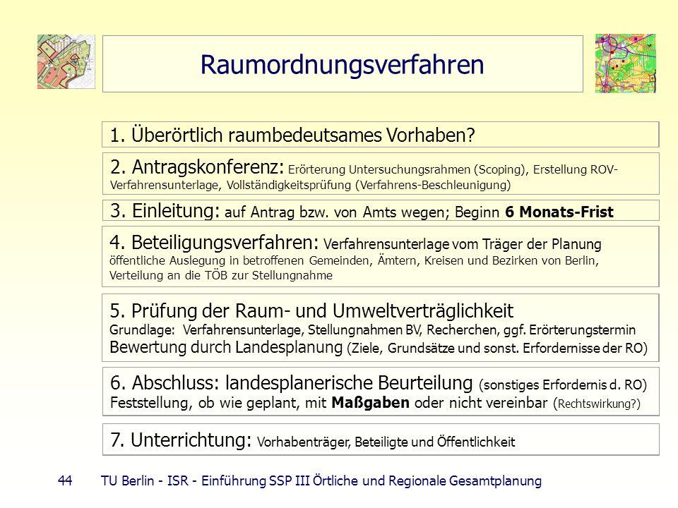 44 TU Berlin - ISR - Einführung SSP III Örtliche und Regionale Gesamtplanung Raumordnungsverfahren 1. Überörtlich raumbedeutsames Vorhaben? 2. Antrags