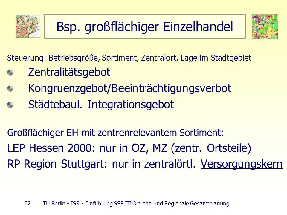 52 TU Berlin - ISR - Einführung SSP III Örtliche und Regionale Gesamtplanung Bsp. großflächiger Einzelhandel Steuerung: Betriebsgröße, Sortiment, Zent