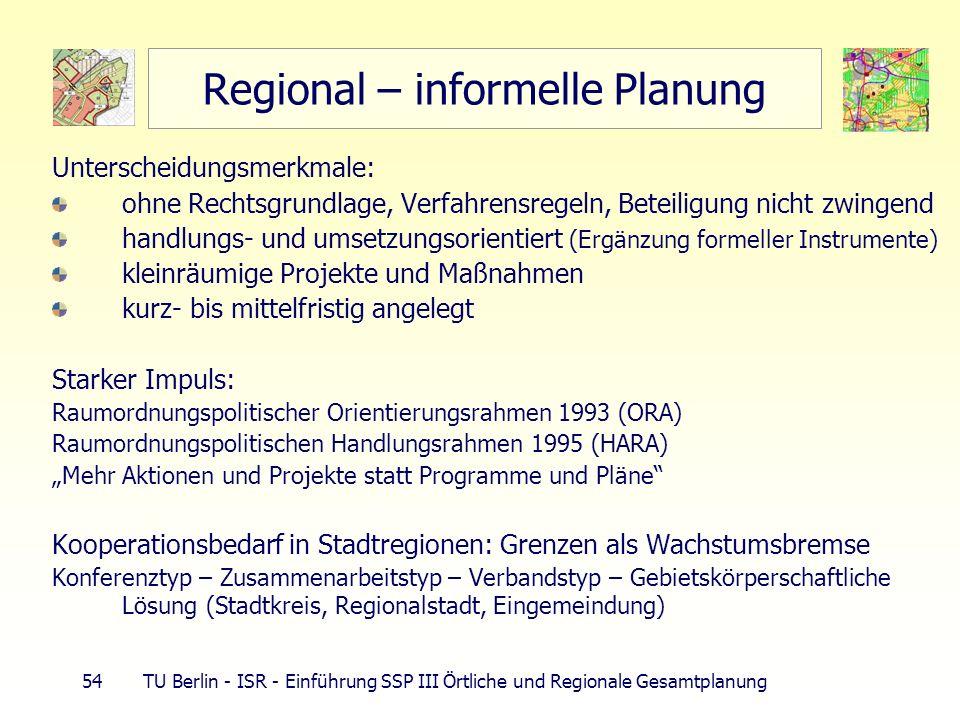 54 TU Berlin - ISR - Einführung SSP III Örtliche und Regionale Gesamtplanung Regional – informelle Planung Unterscheidungsmerkmale: ohne Rechtsgrundla