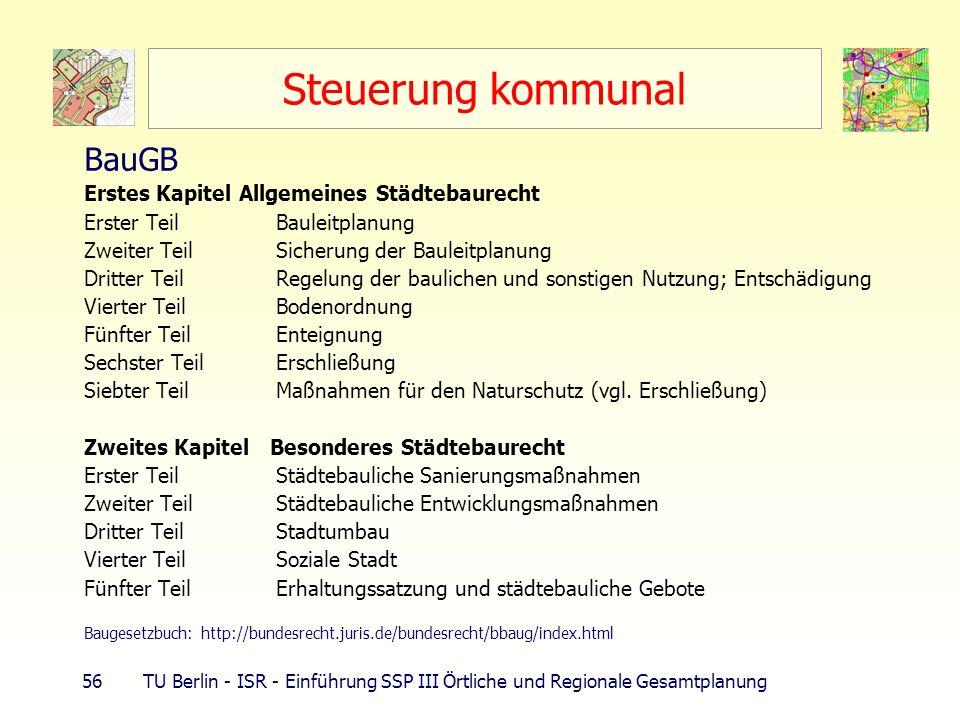 56 TU Berlin - ISR - Einführung SSP III Örtliche und Regionale Gesamtplanung Steuerung kommunal BauGB Erstes Kapitel Allgemeines Städtebaurecht Erster