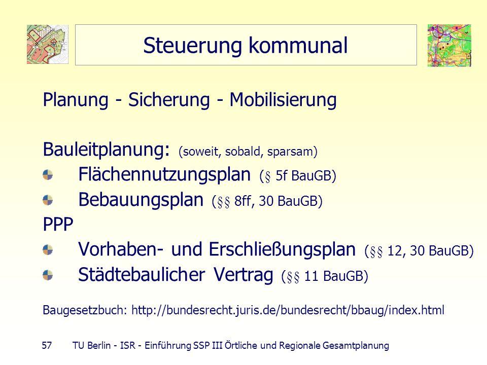 57 TU Berlin - ISR - Einführung SSP III Örtliche und Regionale Gesamtplanung Steuerung kommunal Planung - Sicherung - Mobilisierung Bauleitplanung: (s