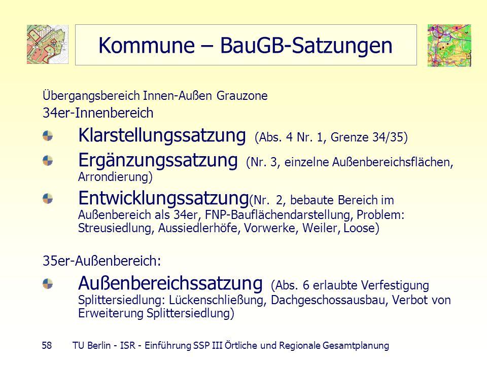 58 TU Berlin - ISR - Einführung SSP III Örtliche und Regionale Gesamtplanung Kommune – BauGB-Satzungen Übergangsbereich Innen-Außen Grauzone 34er-Inne