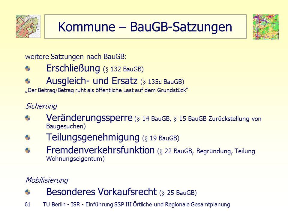 61 TU Berlin - ISR - Einführung SSP III Örtliche und Regionale Gesamtplanung Kommune – BauGB-Satzungen weitere Satzungen nach BauGB: Erschließung (§ 1