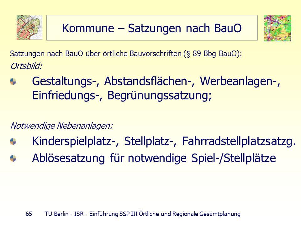 65 TU Berlin - ISR - Einführung SSP III Örtliche und Regionale Gesamtplanung Kommune – Satzungen nach BauO Satzungen nach BauO über örtliche Bauvorsch