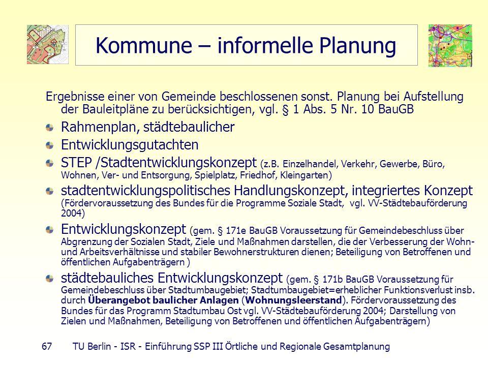 67 TU Berlin - ISR - Einführung SSP III Örtliche und Regionale Gesamtplanung Kommune – informelle Planung Ergebnisse einer von Gemeinde beschlossenen