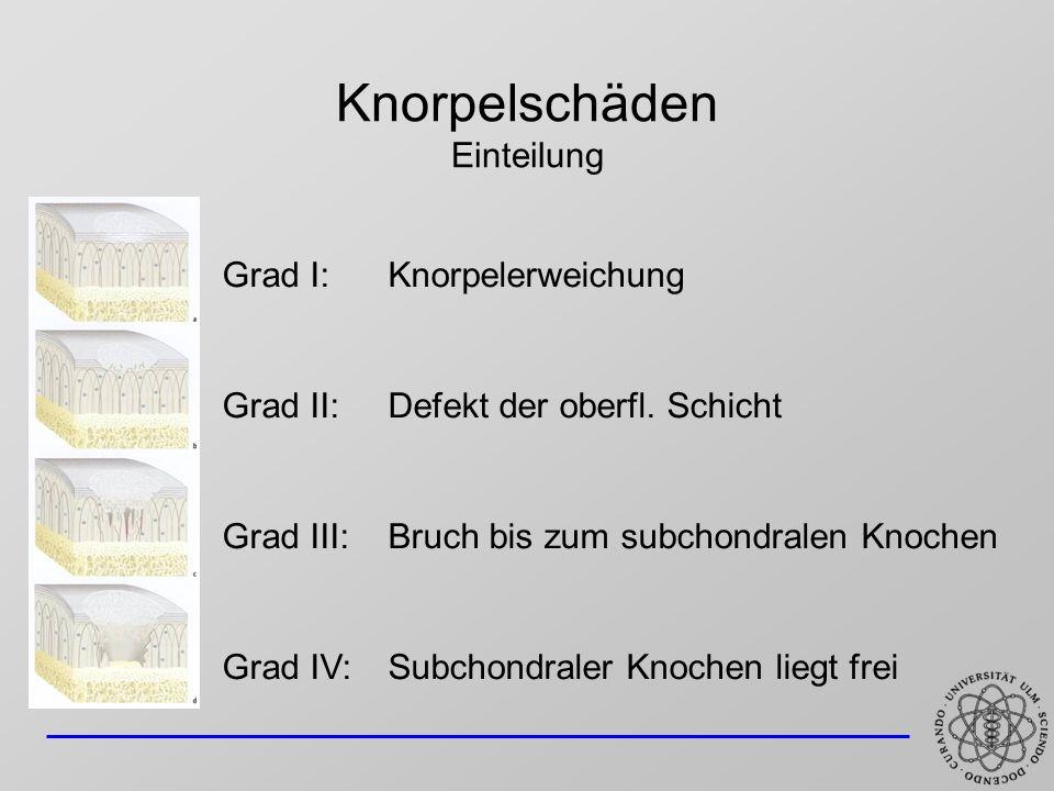 Knorpelschäden Einteilung Grad I:Knorpelerweichung Grad II:Defekt der oberfl. Schicht Grad III:Bruch bis zum subchondralen Knochen Grad IV:Subchondral