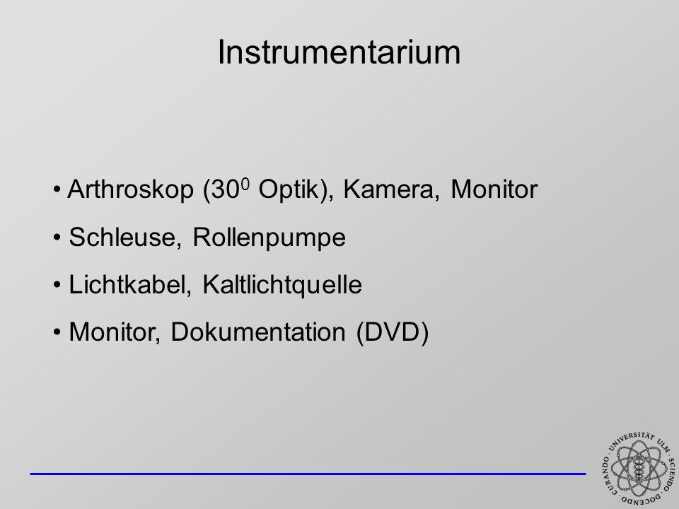 Instrumentarium Arthroskop (30 0 Optik), Kamera, Monitor Schleuse, Rollenpumpe Lichtkabel, Kaltlichtquelle Monitor, Dokumentation (DVD)