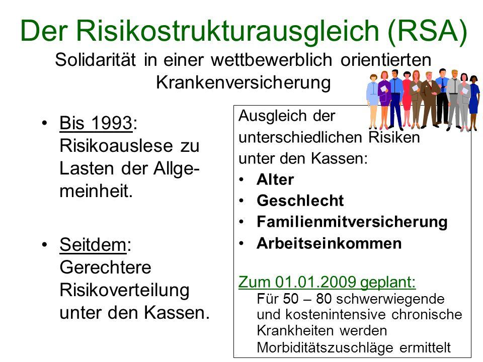 Der Risikostrukturausgleich (RSA) Solidarität in einer wettbewerblich orientierten Krankenversicherung Ausgleich der unterschiedlichen Risiken unter d