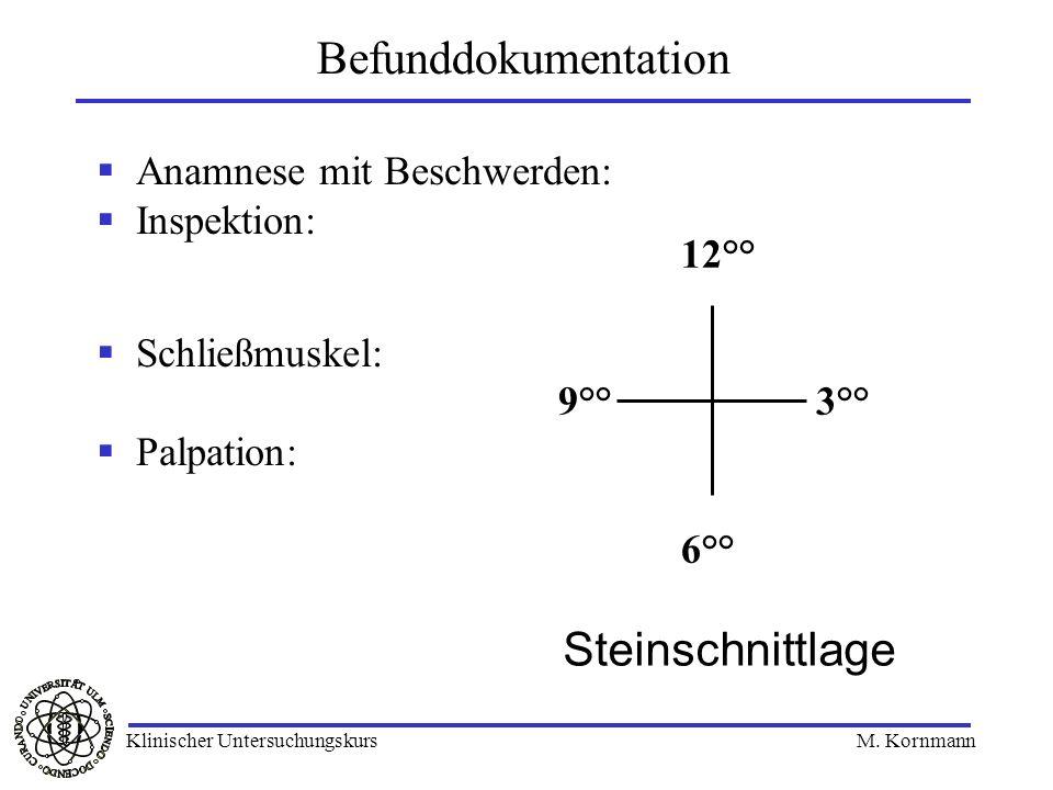 Anamnese mit Beschwerden: Inspektion: Schließmuskel: Palpation: Befunddokumentation 12°° 9°° 3°° 6°° Steinschnittlage Klinischer Untersuchungskurs M.