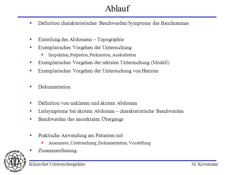 Ablauf Definition charakteristischer Beschwerden/Symptome des Bauchraumes Einteilung des Abdomens – Topographie Exemplarisches Vorgehen der Untersuchu