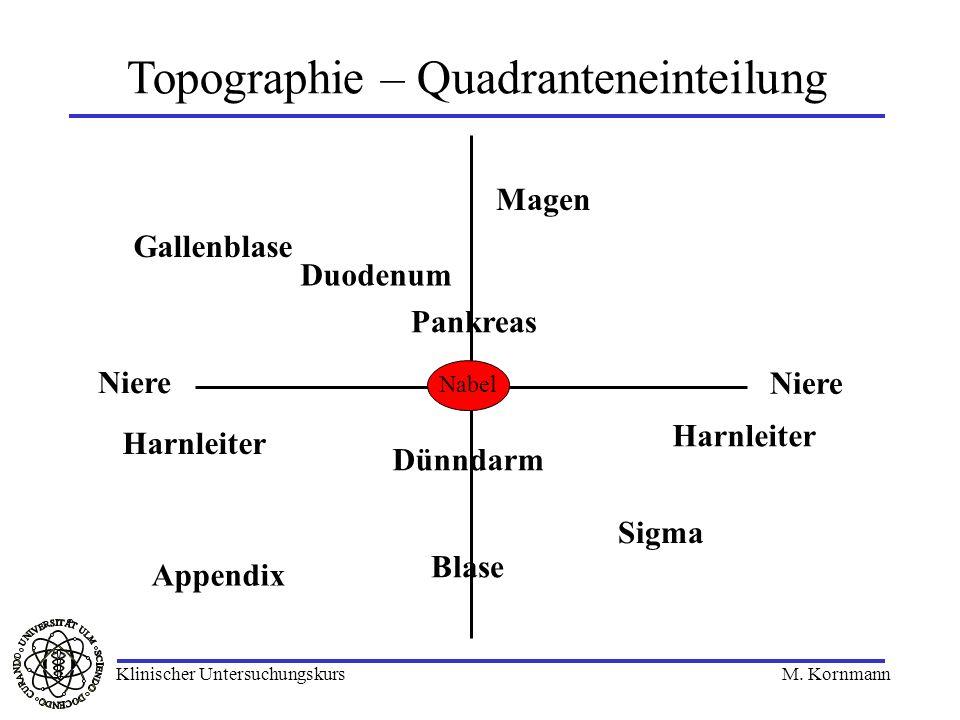 Topographie – Quadranteneinteilung Nabel Harnleiter Gallenblase Magen Duodenum Pankreas Appendix Niere Blase Sigma Dünndarm Klinischer Untersuchungsku