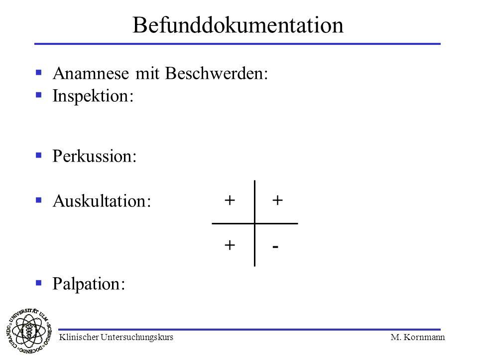 Anamnese mit Beschwerden: Inspektion: Perkussion: Auskultation: Palpation: Befunddokumentation + + - Klinischer Untersuchungskurs M. Kornmann
