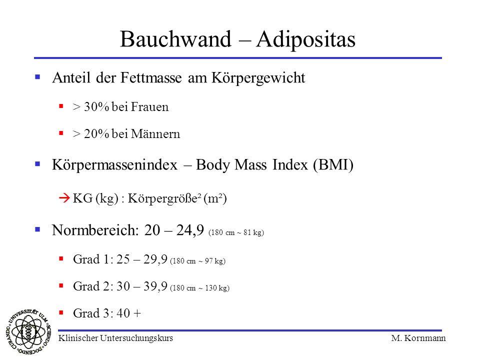 Anteil der Fettmasse am Körpergewicht > 30% bei Frauen > 20% bei Männern Körpermassenindex – Body Mass Index (BMI) KG (kg) : Körpergröße² (m²) Normber