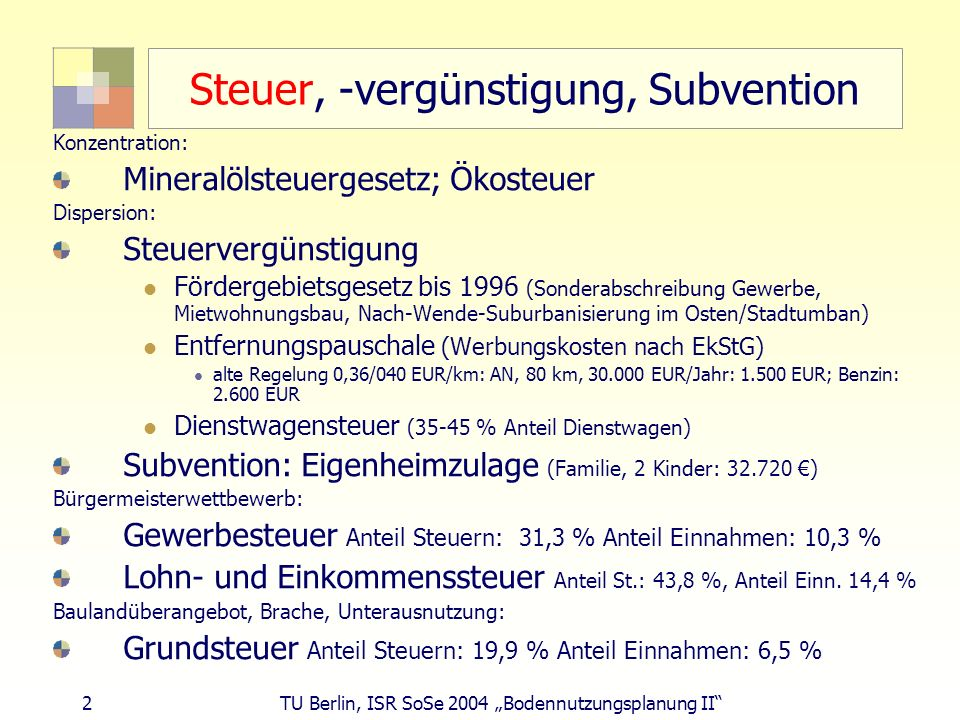 2 TU Berlin, ISR SoSe 2004 Bodennutzungsplanung II Steuer, -vergünstigung, Subvention Konzentration: Mineralölsteuergesetz; Ökosteuer Dispersion: Steu