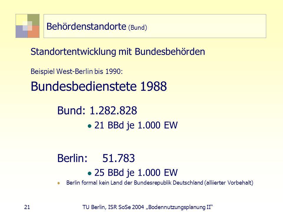 21 TU Berlin, ISR SoSe 2004 Bodennutzungsplanung II Behördenstandorte (Bund) Standortentwicklung mit Bundesbehörden Beispiel West-Berlin bis 1990: Bun