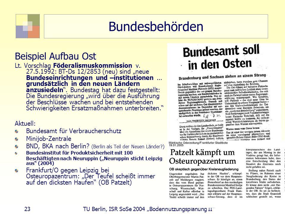 23 TU Berlin, ISR SoSe 2004 Bodennutzungsplanung II Bundesbehörden Beispiel Aufbau Ost Lt. Vorschlag Föderalismuskommission v. 27.5.1992: BT-Ds 12/285