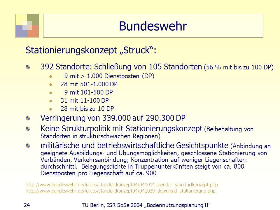 24 TU Berlin, ISR SoSe 2004 Bodennutzungsplanung II Bundeswehr Stationierungskonzept Struck: 392 Standorte: Schließung von 105 Standorten (56 % mit bi