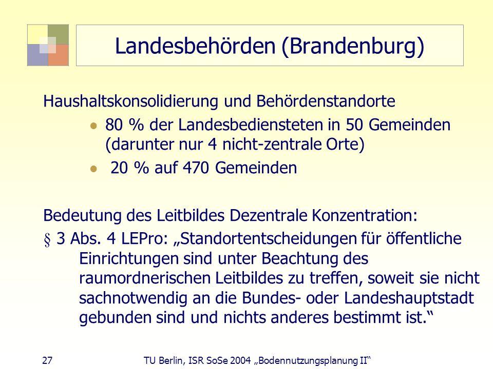 27 TU Berlin, ISR SoSe 2004 Bodennutzungsplanung II Landesbehörden (Brandenburg) Haushaltskonsolidierung und Behördenstandorte 80 % der Landesbedienst