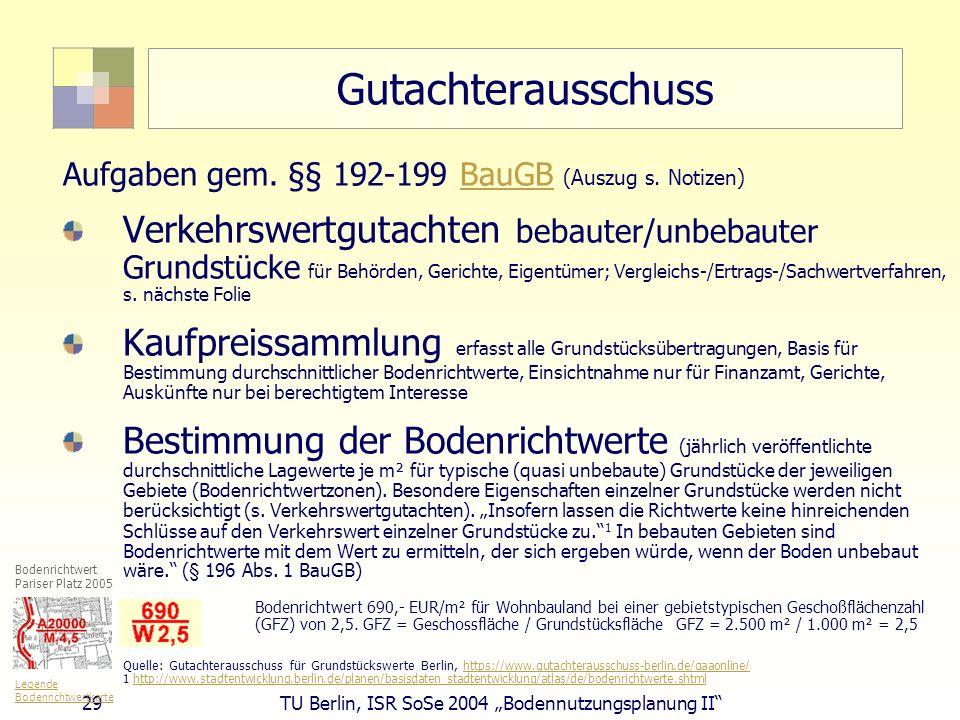 29 TU Berlin, ISR SoSe 2004 Bodennutzungsplanung II Gutachterausschuss Aufgaben gem. §§ 192-199 BauGB (Auszug s. Notizen)BauGB Verkehrswertgutachten b
