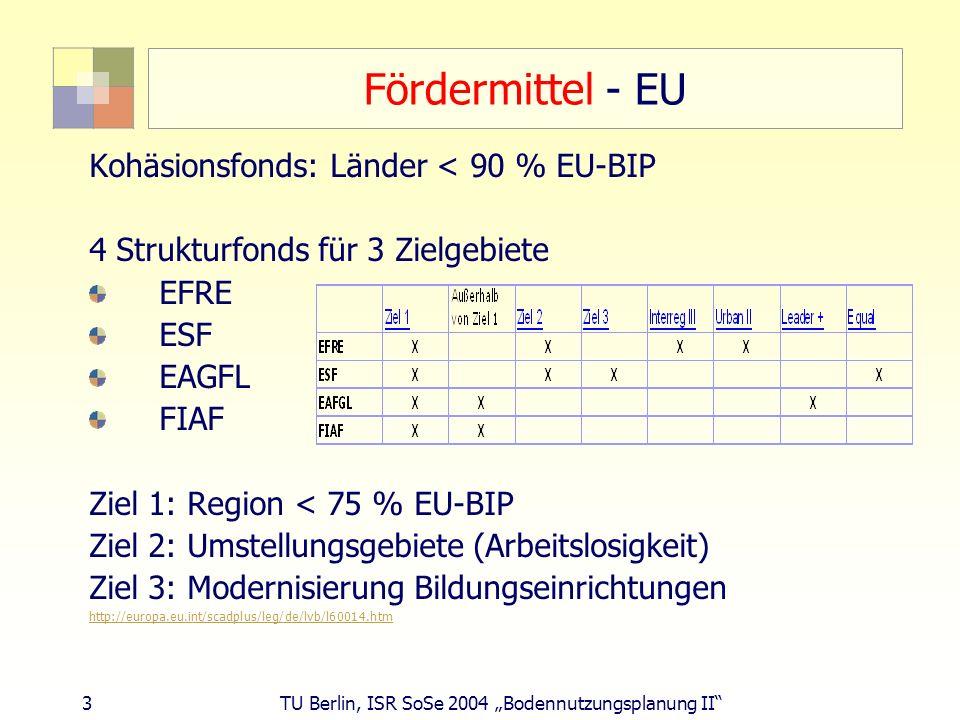 3 TU Berlin, ISR SoSe 2004 Bodennutzungsplanung II Fördermittel - EU Kohäsionsfonds: Länder < 90 % EU-BIP 4 Strukturfonds für 3 Zielgebiete EFRE ESF E
