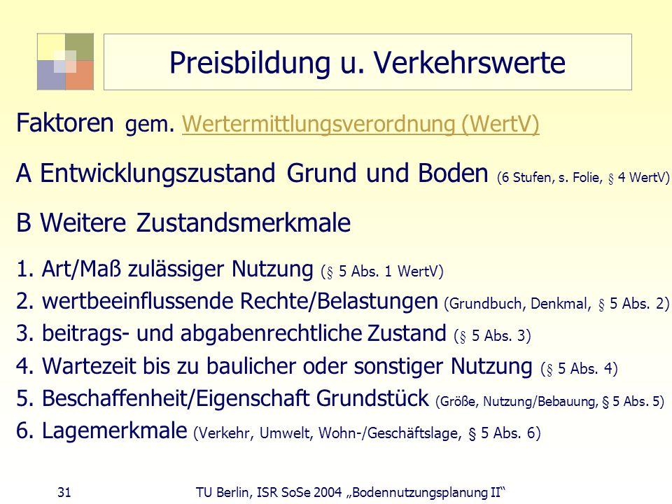 31 TU Berlin, ISR SoSe 2004 Bodennutzungsplanung II Preisbildung u. Verkehrswerte Faktoren gem. Wertermittlungsverordnung (WertV)Wertermittlungsverord