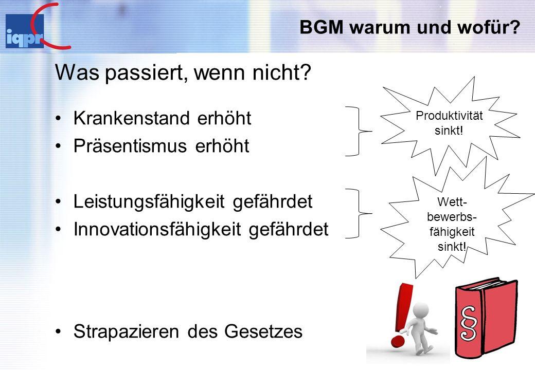 BGM warum und wofür? Was passiert, wenn nicht? Krankenstand erhöht Präsentismus erhöht Leistungsfähigkeit gefährdet Innovationsfähigkeit gefährdet Str