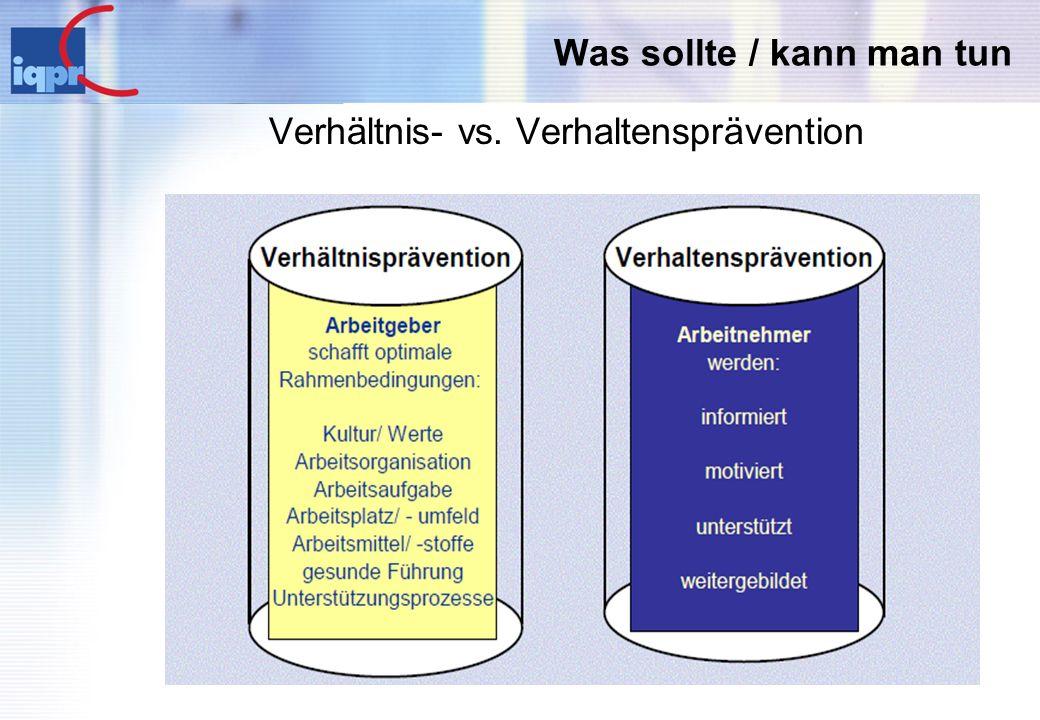 Verhältnis- vs. Verhaltensprävention