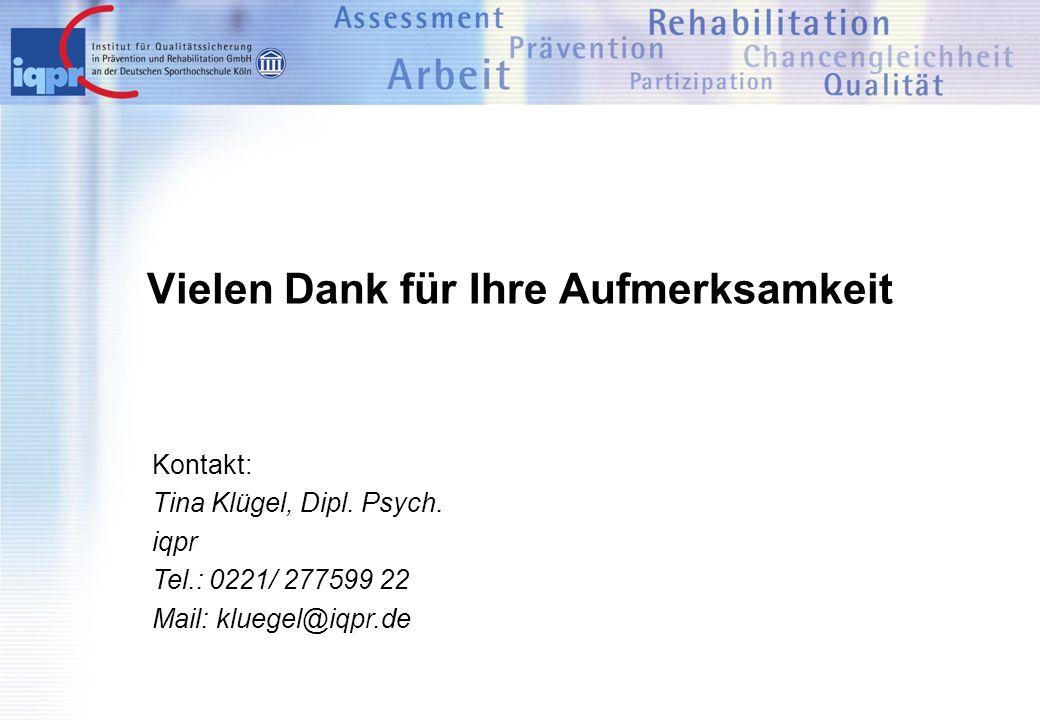 Kontakt: Tina Klügel, Dipl. Psych. iqpr Tel.: 0221/ 277599 22 Mail: kluegel@iqpr.de Vielen Dank für Ihre Aufmerksamkeit