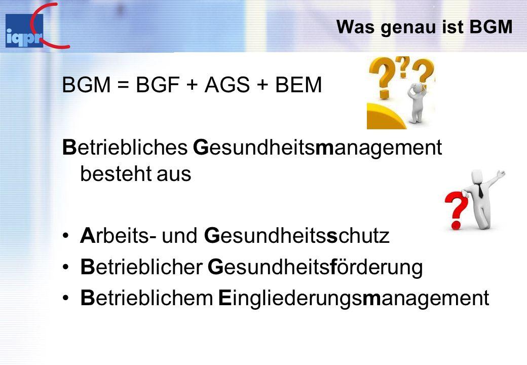 Was genau ist BGM BGM = BGF + AGS + BEM Betriebliches Gesundheitsmanagement besteht aus Arbeits- und Gesundheitsschutz Betrieblicher Gesundheitsförder