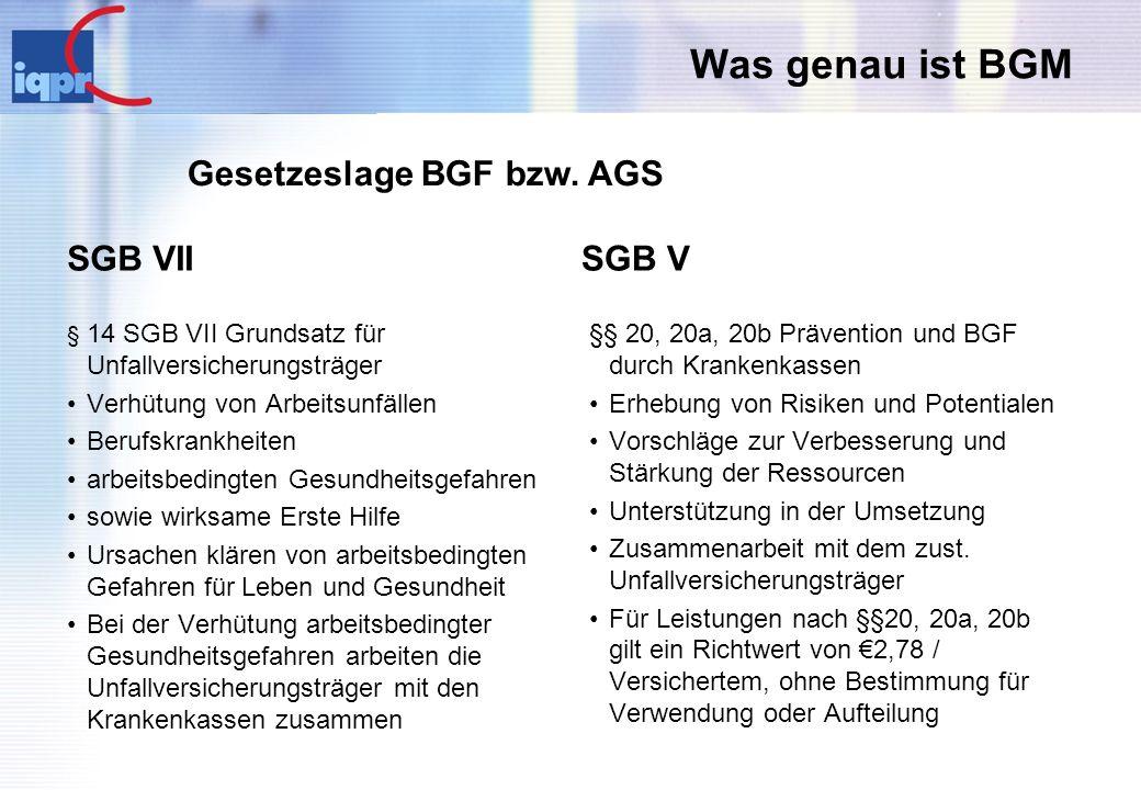 Was genau ist BGM SGB VII § 14 SGB VII Grundsatz für Unfallversicherungsträger Verhütung von Arbeitsunfällen Berufskrankheiten arbeitsbedingten Gesund