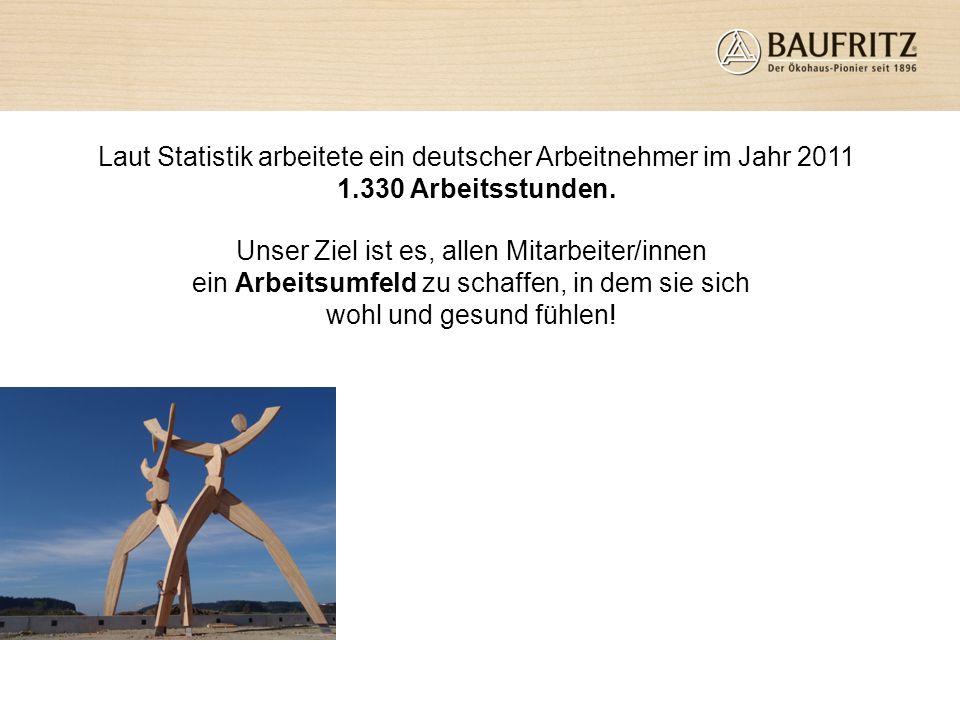 Laut Statistik arbeitete ein deutscher Arbeitnehmer im Jahr 2011 1.330 Arbeitsstunden. Unser Ziel ist es, allen Mitarbeiter/innen ein Arbeitsumfeld zu